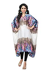 Justkartit Women's Blue & Pink Colour Animal Printed Style Free Size Kaftan / Fancy Collar Neck Calf Length Kaftan For Party Wear / Latest Night Dress Collection 2017 (Hybrid Print Peacock + Cheetah)