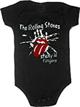 The Rolling Stones Sticky Lil Fingers Black Snapsuit Infant Onesie Baby Romper