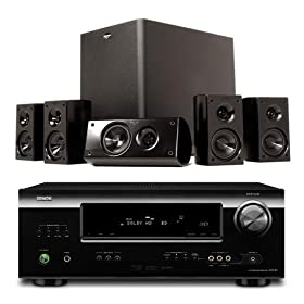 Denon AVR-1312 and Klipsch HDT-300 Home Theater Bundle Package (Black)