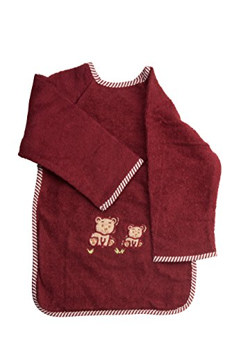 "Abstract Baby/Toddler Terry Waterproof Feeding Bib with Sleeves 12""x 18"" (Bear Applique, Maroon)"