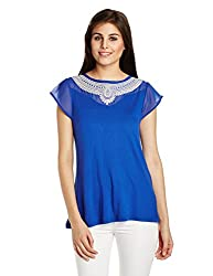 Fusion Beats Women's Body Blouse Top (E515EMBD17M BLUE_L)