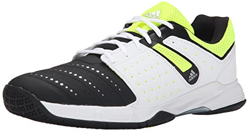 adidas Men's Court Stabil 12 Volleyball Shoe, Black/Silver/Solar Yellow, 11 M US