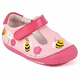 Momo Baby Girls First Walker/Toddler Bumblebee Pink Leather Shoes - 4 M US Toddler