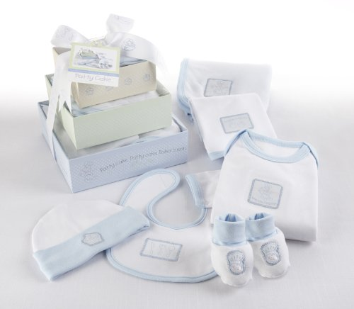 "Baby Aspen ""Patty Cake"" 6 Piece Layette Set in Keepsake Gift Box Tower, Blue, 0-6 Months"