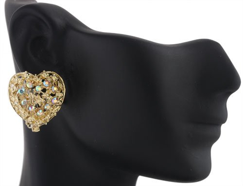 Ladies Gold with Clear AB Iced Out 3D Heart Style Clip On Stud Earrings