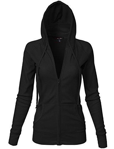 Basic Kangagoo Pocket Thermal Knit Hoodie Jackets