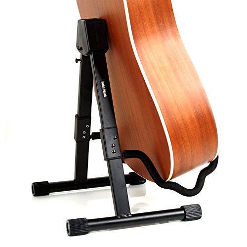 Hola! Heavy Duty Folding Universal Guitar Stand - Fits Acoustic, Classical, Electric and Bass Guitars - Black oem gib guitars black lp custom electric guitar with yellow pearl diamond inlay