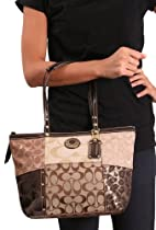 Hot Sale Coach Signature Metallic Patchwork Studded Tote Shoulder Bag 20075