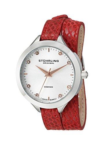 Original Vogue Stuhrling para mujer reloj infantil de cuarzo con plateado esfera analógica y rojo correa de piel 624,02
