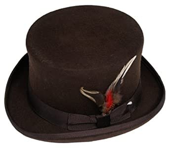 New Mens Brown Top Hat - 100% Wool, Extremely Stylish, Very High Quality!