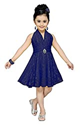Aarika Girl's Self Design Party Wear Net Frock (6516-D-BLUE_32_9-10 Years)