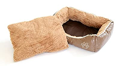 BUNNY BUSINESS Luxury Super Soft Dog Beds Leather and Fleece, Large, 36-inch