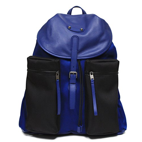 Balenciaga Nylon and Leather Veau Navy Blue Backpack Bag 411530