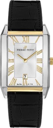 Pierre Petit Paris P-778B - Reloj analógico de cuarzo para hombre, correa de cuero color negro