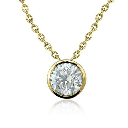 14k Yellow Gold Bezel Solitaire Natural Diamond