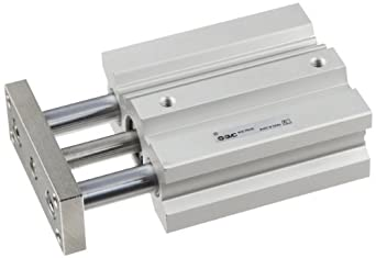 SMC MGQ Series Aluminum Air Cylinder with Guide Rod Plate, Slide Bearing, Compact, Double Acting, Switch Ready, Cushioned