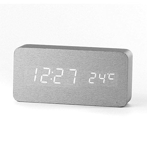 Forepin-Stilvoll-Holz-Wecker-Digital-Uhr-mit-Sound-Control-und-LED-Licht-Anzeige-Tischuhr-Alarm-Dekorationen-fr-das-Haus-und-Bro-Angetrieben-durch-USB-oder-Batterie-Rechteck-Gestalten-Silber-Wei-Licht