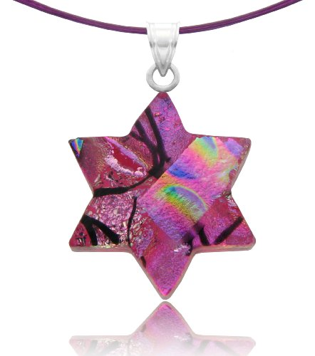 Sterling Silver Dichroic Glass Pink Star of David Pendant Necklace on Stainless Steel Wire, 18