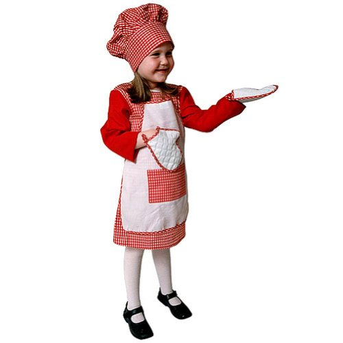 Red Gingham Girl Chef Kids Costume
