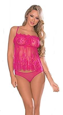 Escante Women's Flirty Nights Eyelash Lace Cami Top with Mesh G-Back Panty
