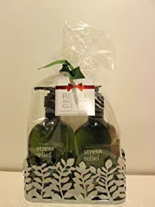 Bath and Body Works Relax and Think Clearly Aromatherapy Stress Relief Eucalyptus Spearmint Hand Soap and Hand Lotion 8 Oz Each with Holder