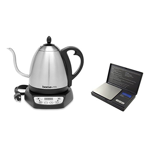 Gooseneck Electric Tea Water Kettle Cordless 1 Liter and Digital Pocket Scale Bundle (Bonavita Hot Water Kettle compare prices)