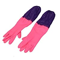 uxcell® Rubber Household Cleaning Gloves Oversleeves Hot Pink Purple Pair