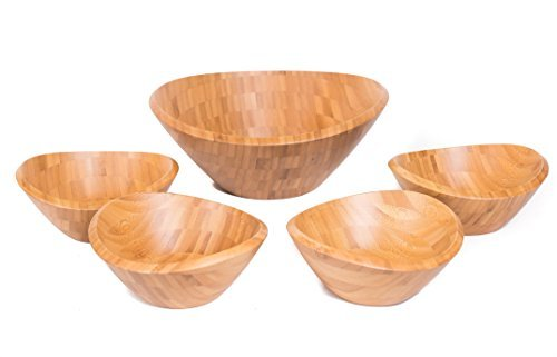 Bamboo Salad Bowl Set | Set of 5