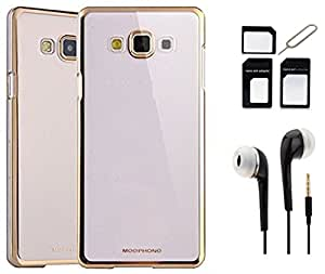 Tidel Golden border Soft Flexible TPU Back Cover for Samsung Galaxy J2 - Gold With Earphone & Micro/Nano SIM Adapter