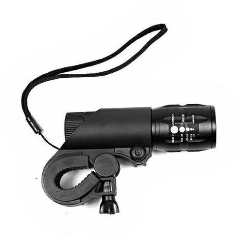 Foxnovo Head Light Curved Flashlight Cree Q5 3-Mode 240-Lumens Zoomable Waterproof Led Bike Bicycle Light Flashlight With Bike Mount Holder (Black) front-1010822
