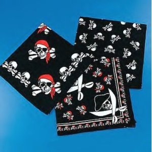 12 Assorted Pirate Themed Bandanas for Birthday Party Favors / Costume / Dress-up