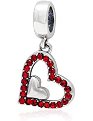 Choruslove Red Crystal Heart Charm 925 Sterling Silver Dangle Bead For Bracelet Or Necklace