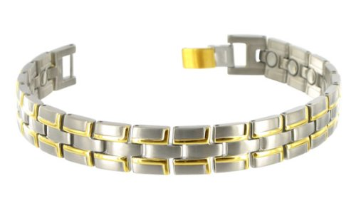 12 MM Wide Mens Two Tone Finish Titanium Magnetic Link Bracelet 8.75