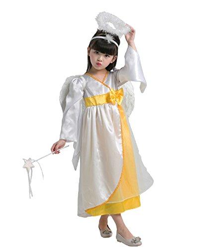 LifeWheel Halloween Masquerade Costumes Children Red Hooded/Purple Princess/Frog/Princess/Playful Angel/Classic Princess/Dress Set Pretend Play (Custom Angel Wings Costume)