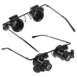 New Tool 20x Magnifier Magnifying Eye Glasses Loupes Lens Jeweler Watch Repair LED Light
