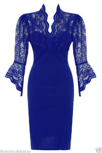 Classy Blue Lace Sleeved Fitted Pencil Wiggle Dress-sz 8