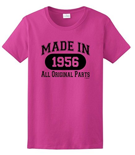 60th Birthday Gift Made 1956 All Original Parts Ladies T-Shirt XL Heliconia