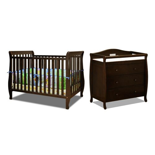 Baby Mile Hannah 4-In-1 Convertible Crib With Toddler Rail And Baby Mile Eve 3 Drawer Changer , Espresso front-798856