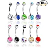 Lot of 10pc 14G Double Gem Belly Button Ring Body Jewelry Piercing Ring 10 Pack