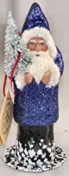 Ino Schaller Paper Mache Santa with Dark Blue Glitter Coat