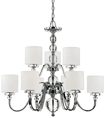 Quoizel DW5009C Downtown 9-Light Chandelier with Opal Etched Glass Shades, Polished Chrome