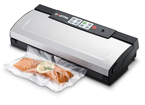 Gourmia GVS435 - Stainless Steel Vacuum Sealer - Preserve & Store Food or Vacuum for Sous Vide, 8 Versatile Function - Cannister Compatible, Includes Vacuum Seeler Bags & Knife