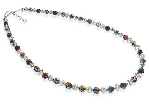 Sterling Silver Vitrial and Clear Crystal Necklace 18 inch Made with Swarovski Elements