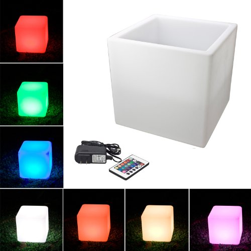 "Loftek® Outdoor/Indoor Rechargeable Led Light, Cordless With Rgb Colorful Changing Remote Control Changing. (Cube Semi-Hollow 16"")"