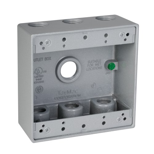 Taymac Db750S 7-Inch By 1/2-Inch Holes 2-Gang Weatherproof Outlet Box