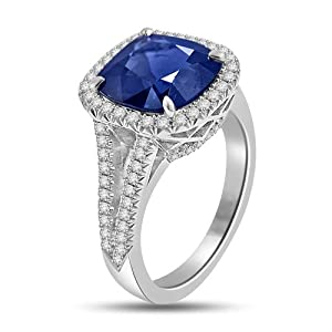 6.05 Ct Sapphire & Diamond Halo Cocktail Ring 18k White Gold