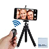 Acuvar 6.5 inch Flexible Tripod with Universal Mount for All Smartphones with Wireless Remote Control & an eCostConnection Microfiber Cloth