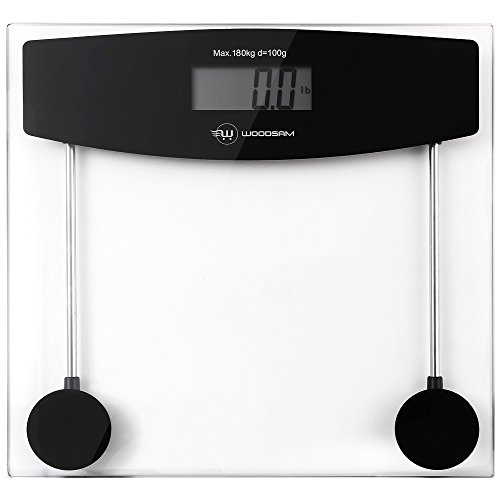 Woodsam Digital Body Weight Bathroom Fitness Scale, 400LB/180KG , Black Clear