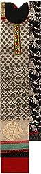Preety Women's Silk Semi Stitched Dress Material (PW057, Cream)