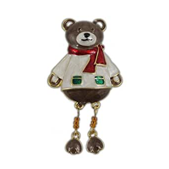 Christmas Teddy Bear Pin Brooch Bejeweled